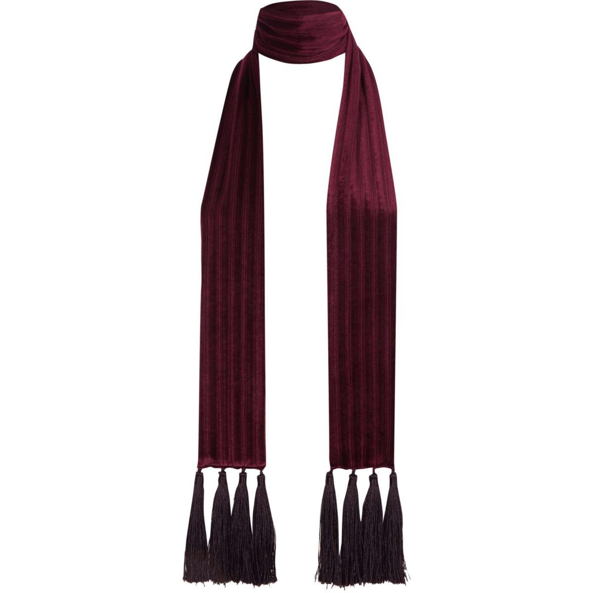 Dark red velvet tassel scarf