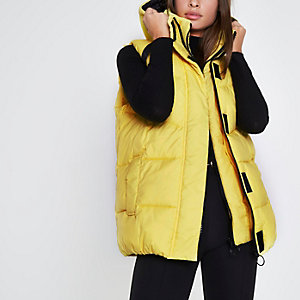 Yellow double layer puffer vest