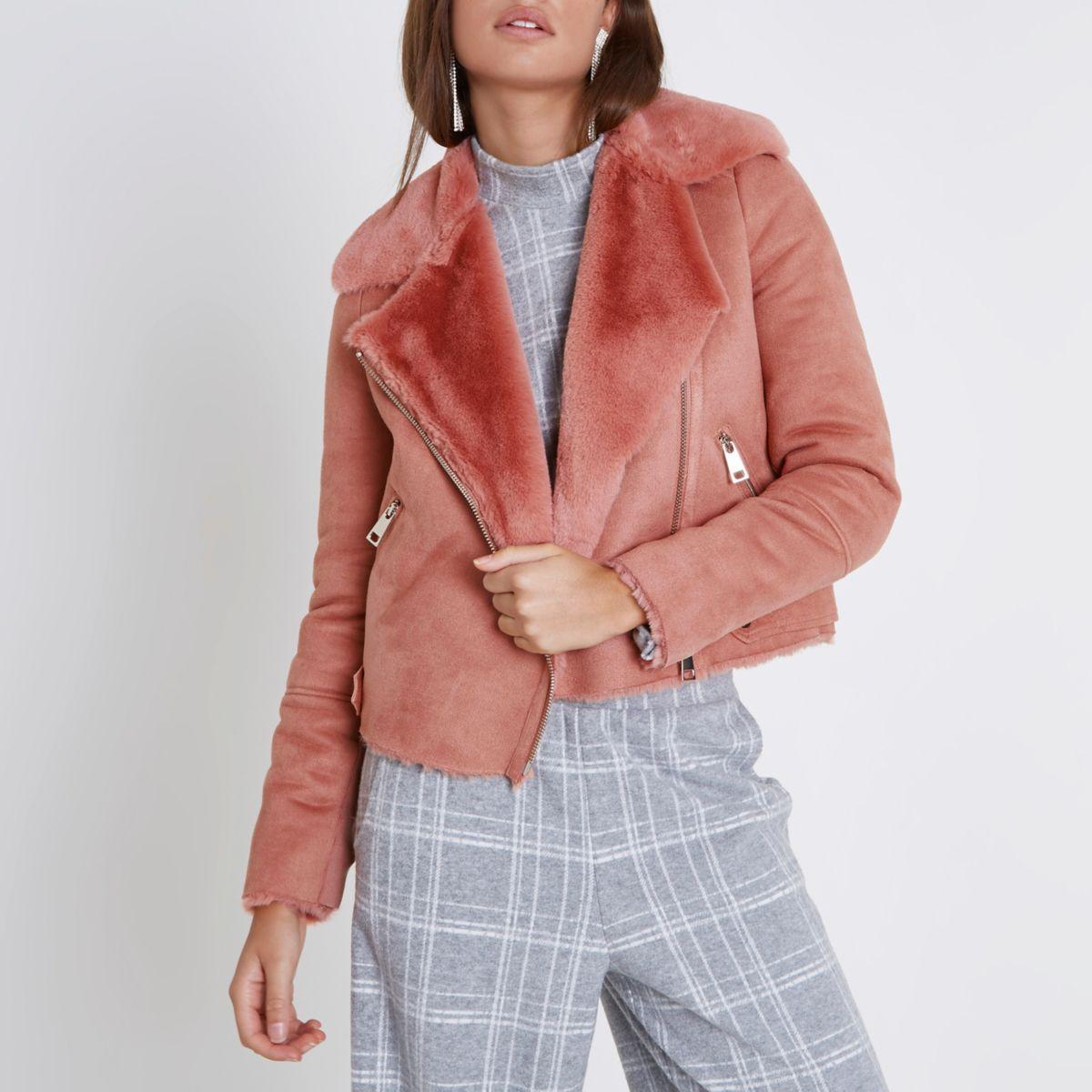 Pink faux shearling biker jacket