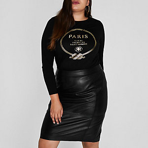 Plus black 'Paris' foil print T-shirt