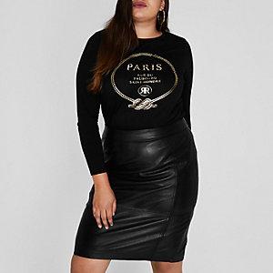 Plus – T-shirt imprimé «Paris» métallisé noir