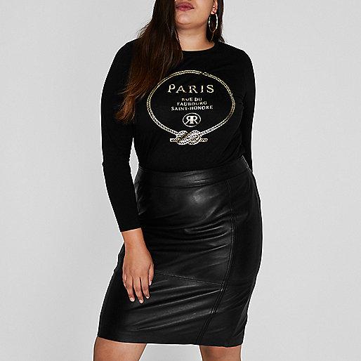 Plus black 'Paris' foil print T-shirt