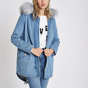 Blue faux fur lined hood denim parka coat