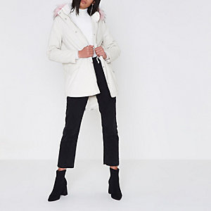Cream faux fur trim short parka coat