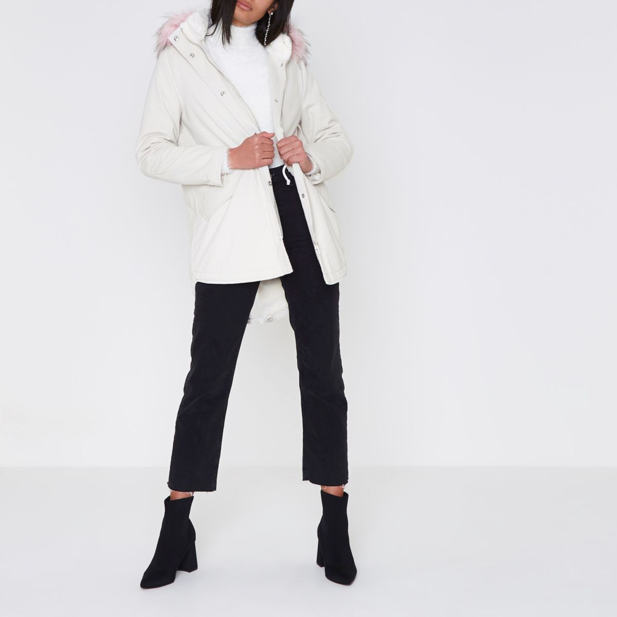 Cream faux fur trim short parka coat
