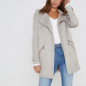 Light grey longline swing coat