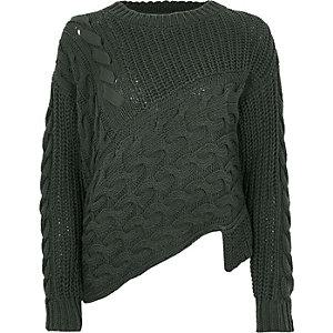 Khaki cable knit asymmetric hem jumper