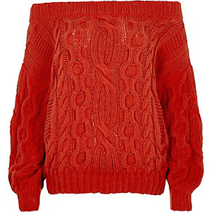 Red cable knit bardot jumper