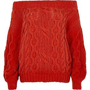 Roter Bardot-Pullover mit Zopfmuster
