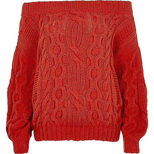 Red cable knit bardot sweater