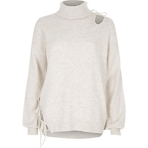Beige roll neck cut out tie sweater