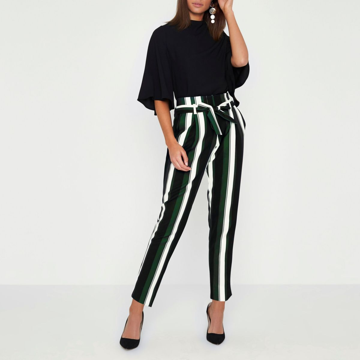 Black stripe tie waist tapered trousers