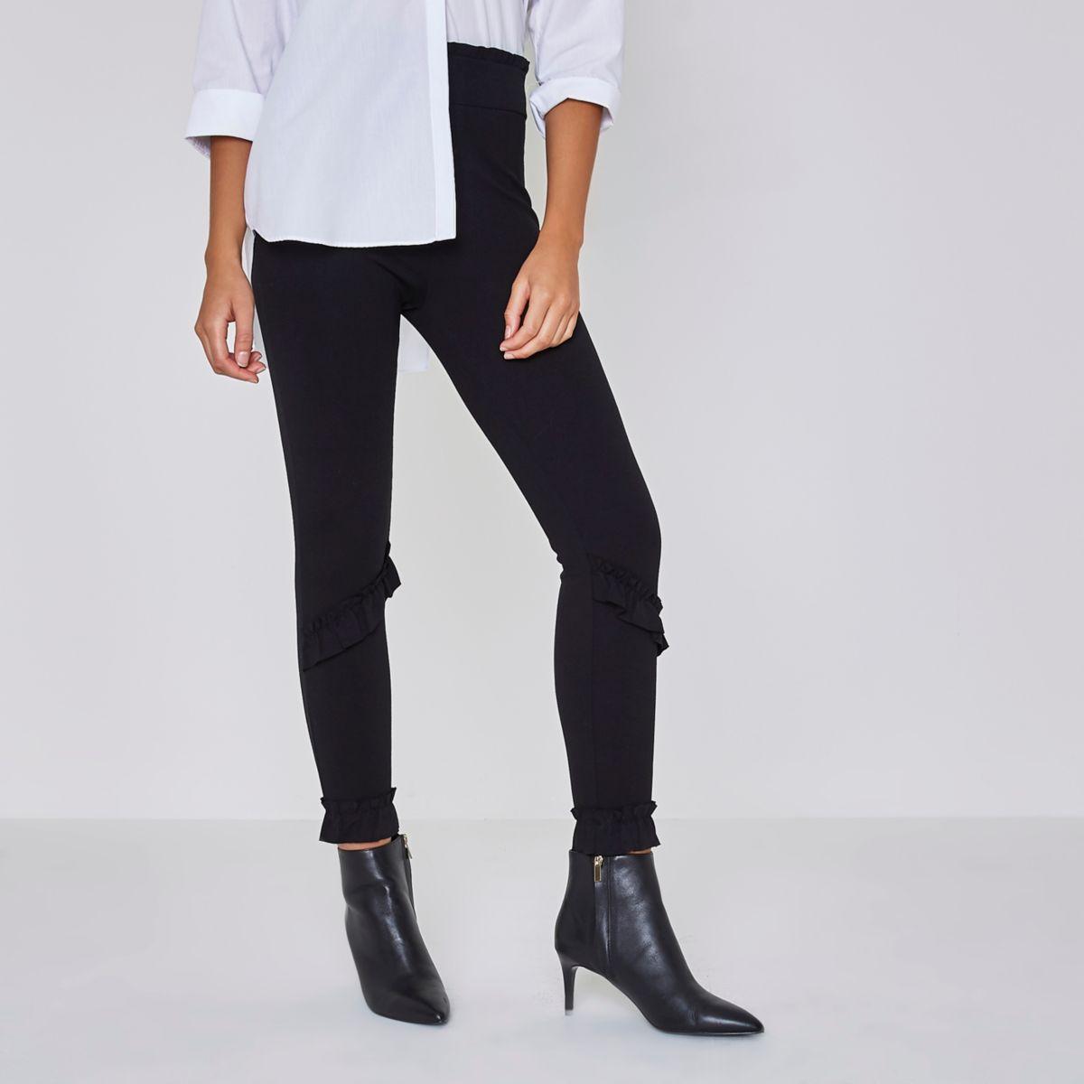 Black frill detail leggings