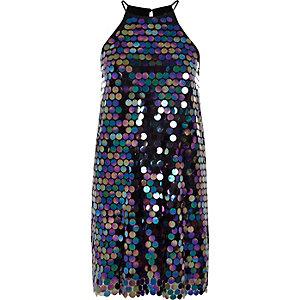 Black disc sequin halter neck slip mini dress