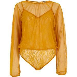 Yellow mesh long sleeve lace bodysuit