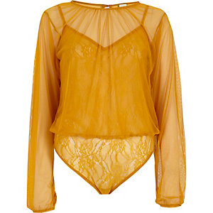 Yellow mesh long sleeve lace bodysuit