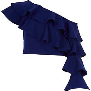 Crop top ajusté bleu à encolure asymétrique à volants