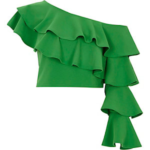 Green frill one shoulder crop top
