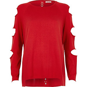 Red slash sleeve ladder back top
