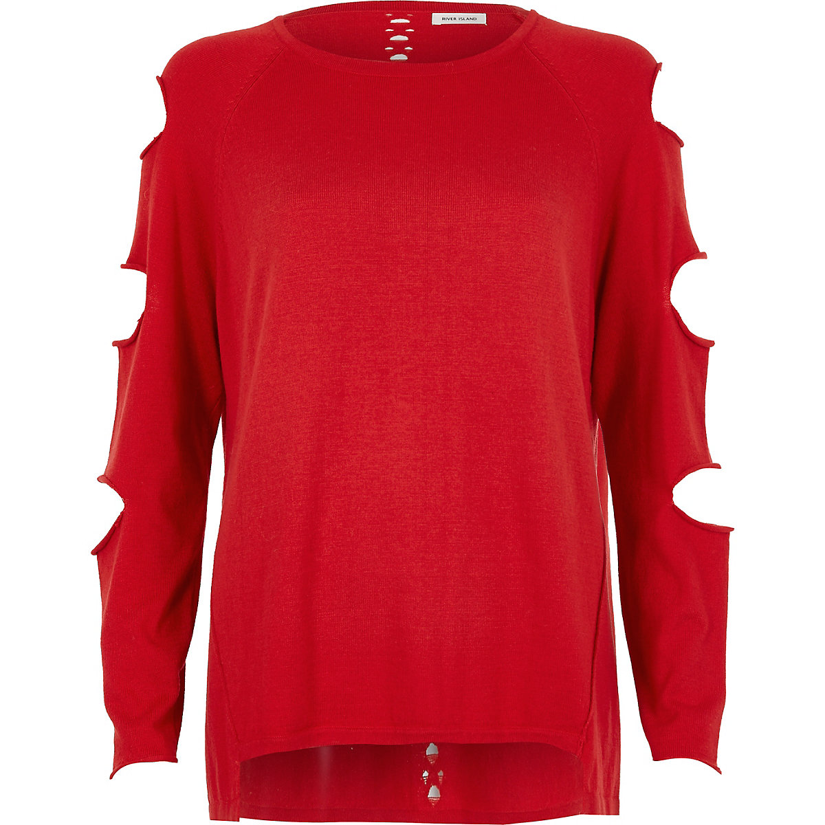 Red slash sleeve ladder back top