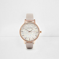 Grey cluster dial rose gold tone watch