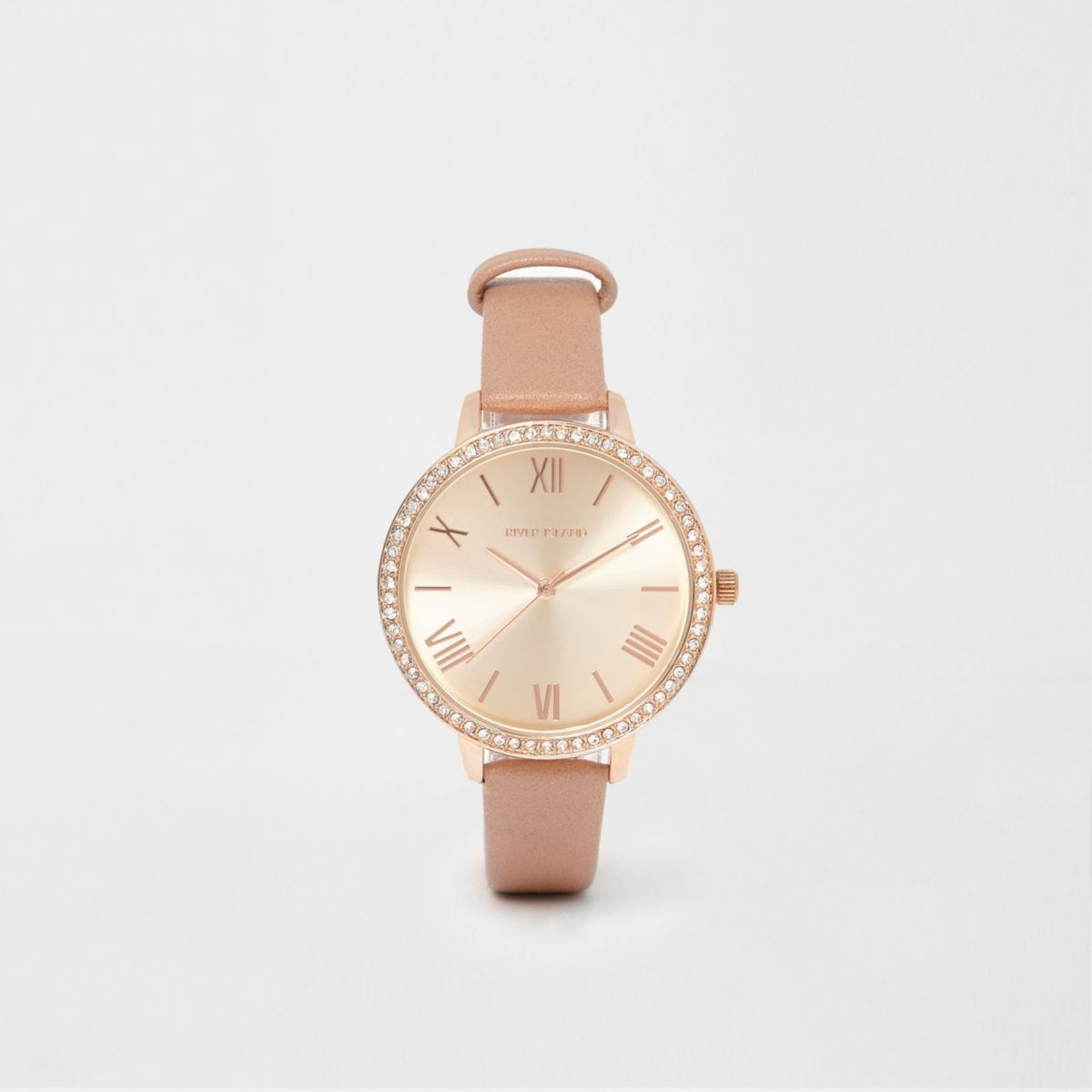 Beige and rose gold tone diamante watch