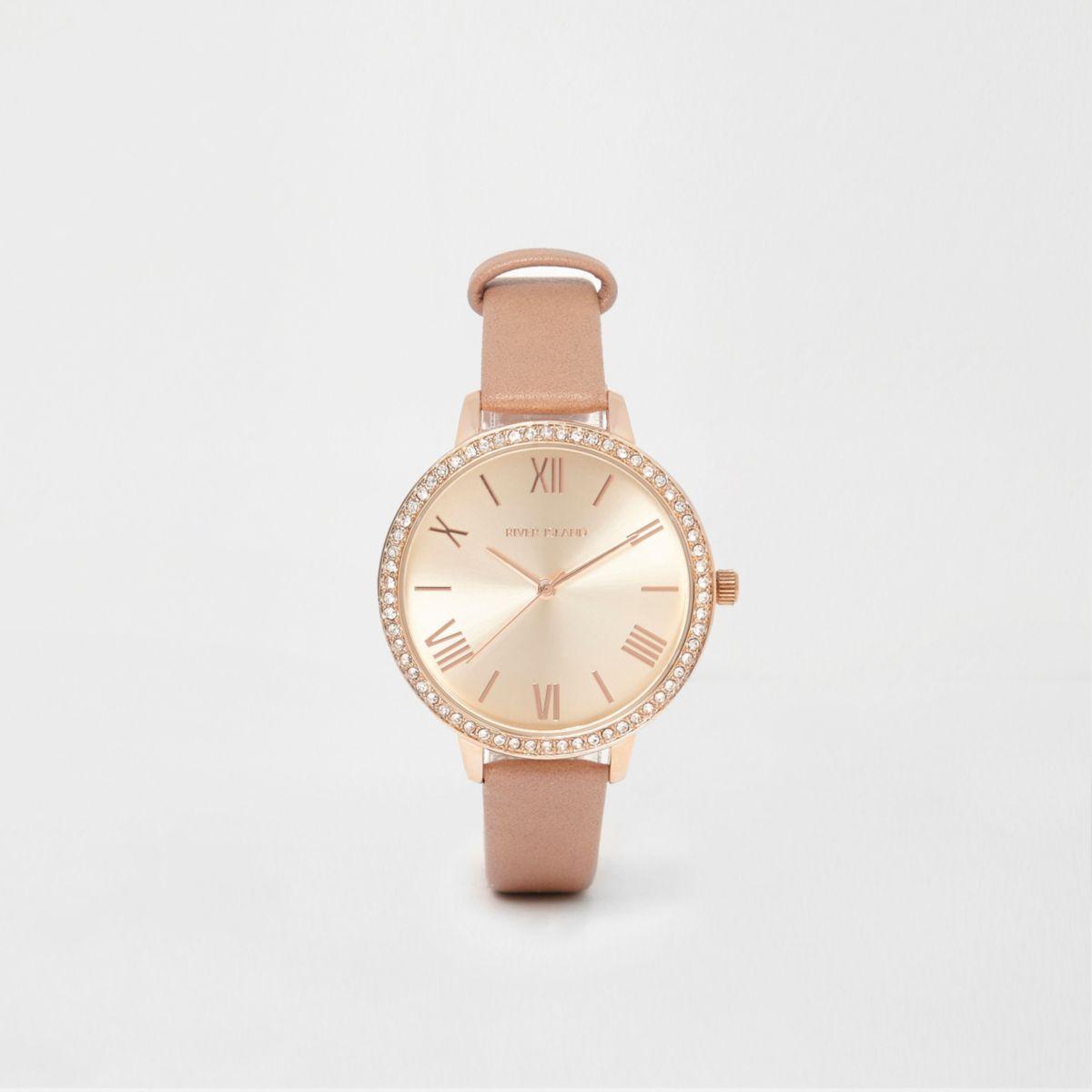 Armbanduhr in Beige und Roségold