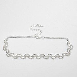 Silver tone diamante swirl choker