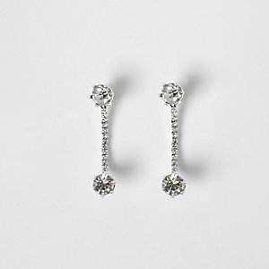 Silver tone rhinestone curved stud earrings