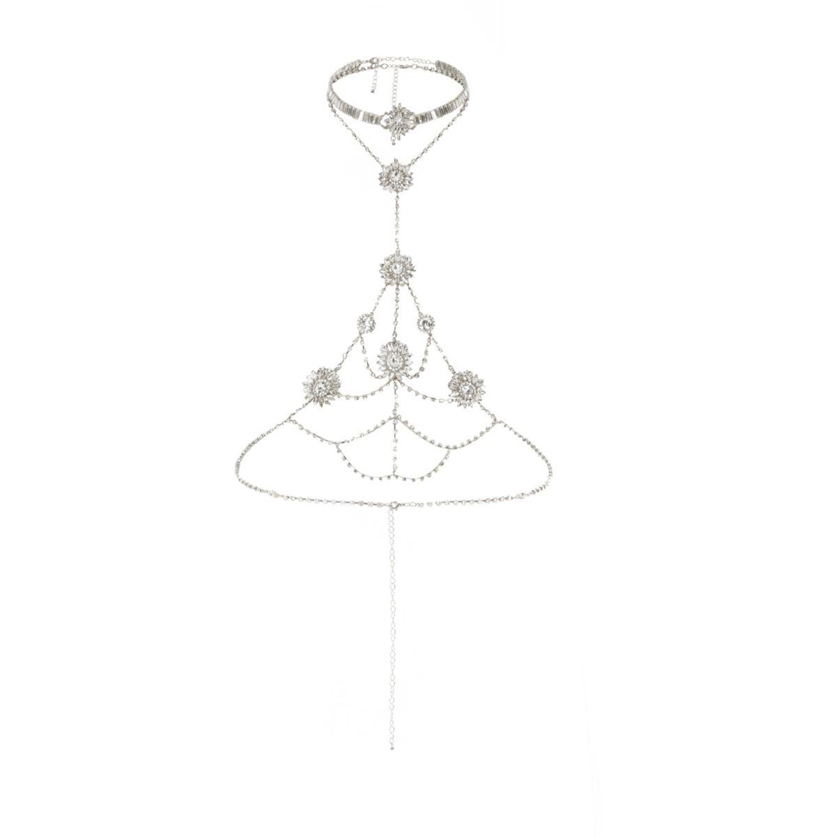 Silver tone rhinestone harness necklace set