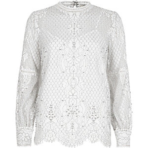 White lace high neck beaded top