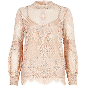 Light pink lace high neck beaded top