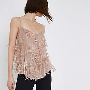 Pink beaded cami top