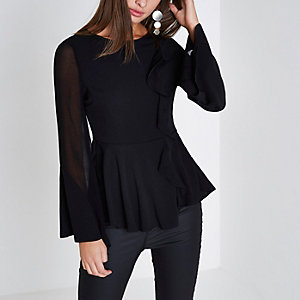 Black sheer flare sleeve ruffle peplum top