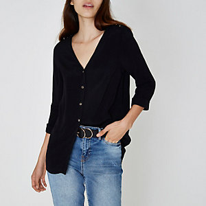 Black cross back V neck button-up blouse