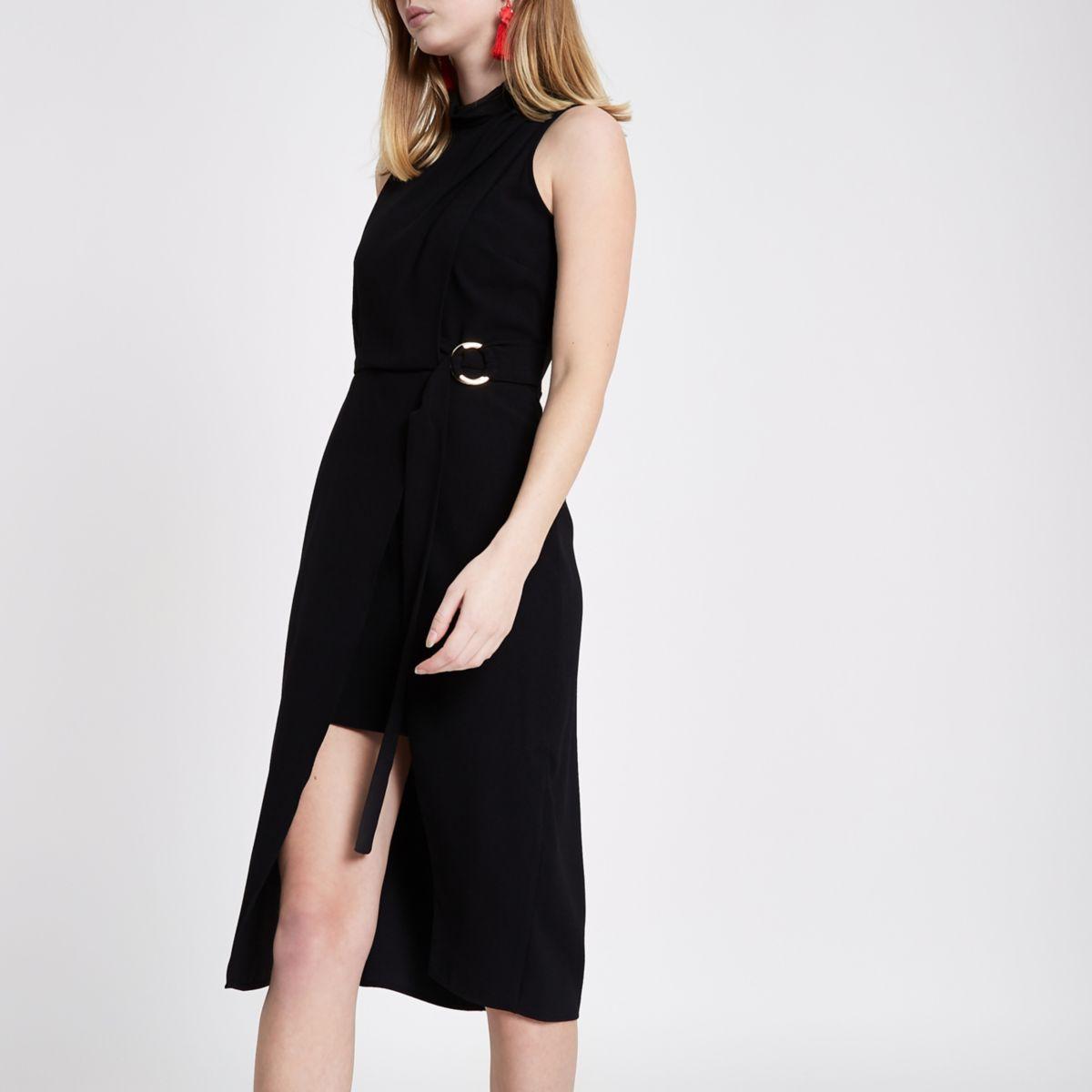 Zwarte hoogsluitende mouwloze midi-jurk
