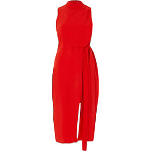 Red high neck sleeveless wrap midi dress