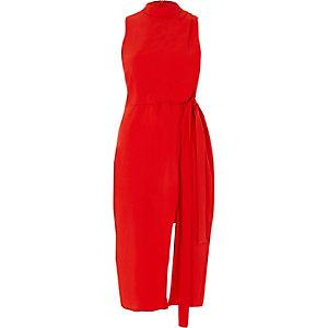 Robe portefeuille rouge mi-longue sans manches à col haute