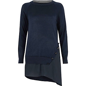 Navy asymmetric hem layered sweater