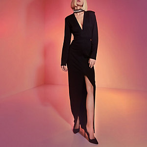 Black RI Studio embellished choker maxi dress