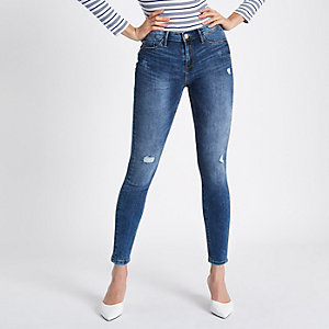 Molly - Middenblauwe distressed jegging