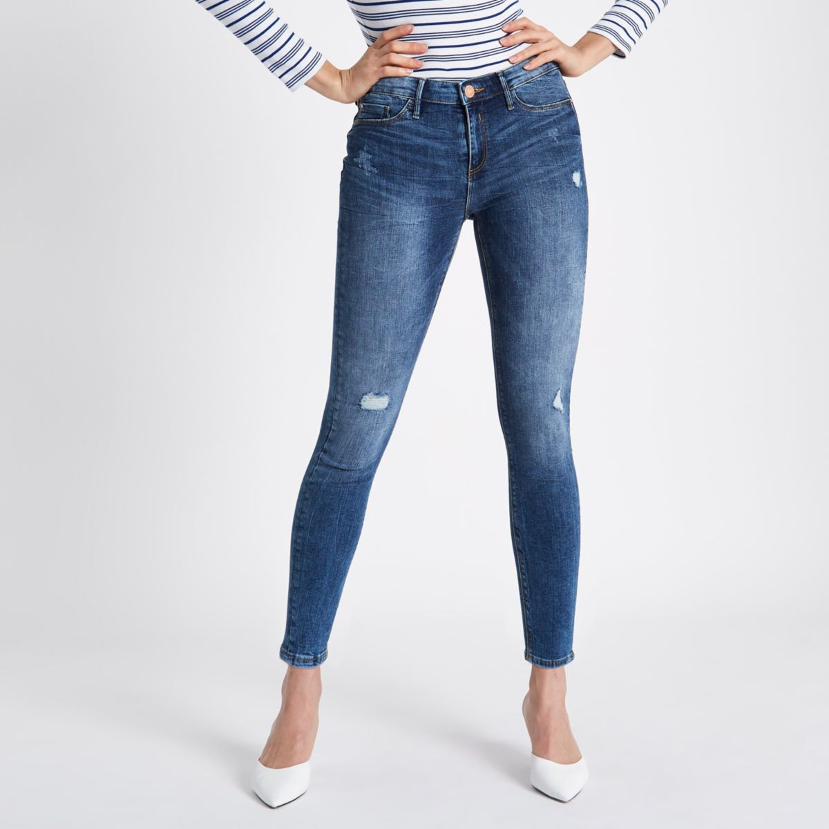 Mid blue distressed Molly jeggings