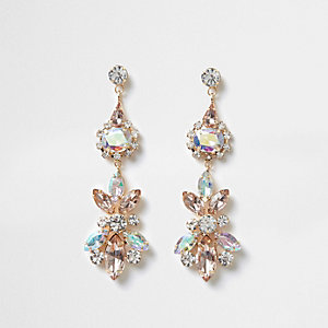 Gold tone lilac jewel drop earrings