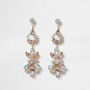 Gold tone lilac jewel drop earrings