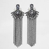 Grey jewel cup chain tassel drop earrings