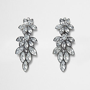 Silver tone diamante leaf drop stud earrings