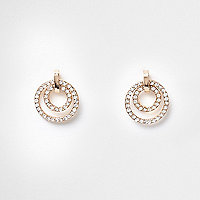 Boucles d'oreilles dorées double anneau