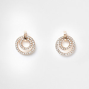 Gold tone pave double ring drop stud earrings