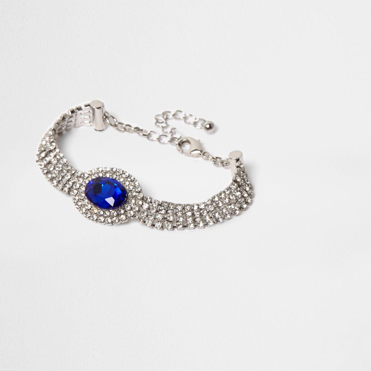 Silver tone sapphire oval jewel choker