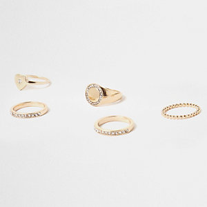 Gold tone diamante encrusted ring pack